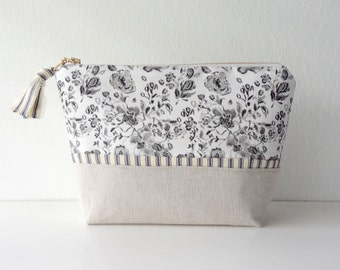 NEW! Black and White Watercolor Floral Cosmetic Pouch, Floral Make-Up Bag, Watercolor Designer Fabric, Cosmetic Bag, Flat Bottom