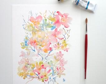 Subtle, Watercolor Flowers Fine Art Print, Watercolor Abstract Flowers, 8x10, 11x14