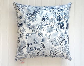 NEW! Indigo Blooms Pillow Cover, Designer Fabric Pillow Cover, 18x18, 20x20, 22x22, 24x24, 14x20, 12x21