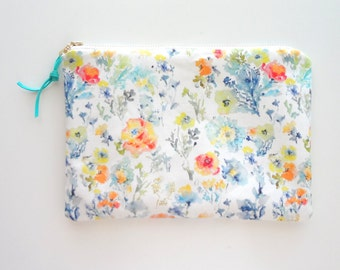 Floral Mix Cosmetic Pouch, Watercolor Flowers Cosmetic Bag, Designer Fabric
