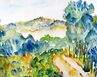 Landscape Watercolor, View Upon a Hike, Watercolor Fine Art Print, 8x10, 5x7