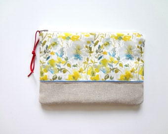 Watercolor Floral Cosmetic Pouch, Floral Make-Up Bag, Original Designer Fabric