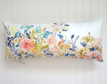 "NEW! Extra Long 12""x26"" Lumbar Pillow Cover, Watercolor Floral Pillow Cover, Watercolor Floral Home Decor"