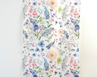 Floral Market Tea Towel, Watercolor Tea Towel, Watercolor Floral Tea Towel, Watercolor Flowers Fabric