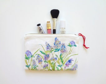 Lavender Flowers Cosmetic Pouch, Watercolor Flowers Pouch, Floral Pouch, Makeup Bag, Watercolor Lavender