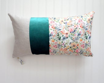 NEW! Bloom Time with Velvet Trim, Pillow Cover, Color Block Pillow Cover, Designer Fabric Pillow Cover, Lumbar, 12x21, 14x20, 12x26