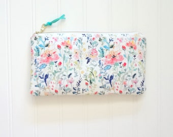 Pink Medley Floral Pouch, Watercolor Flowers Pouch, Designer Fabric, 9x5 Pouch
