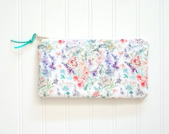 Abstract Floral Pouch, Watercolor Flowers Pouch, Designer Fabric, 9x5 Pouch