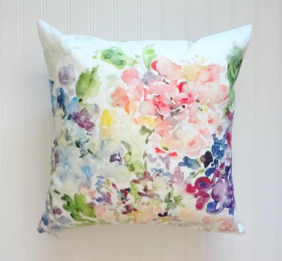 Watercolor Floral Pillow Pink Linen