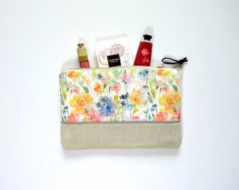 Touch of Indigo Floral Cosmetic Pouch, Watercolor Fabric Design, Make-Up Bag, Small Zippered Bag, Floral Bag