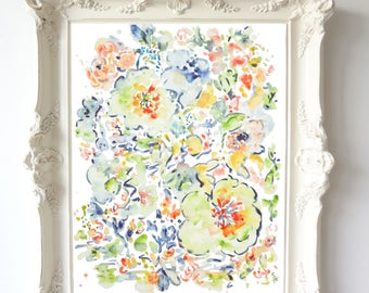 Lines & Colors No. 1, Abstract Flowers, Watercolor Flowers Fine Art Print, 8x10, 11x14