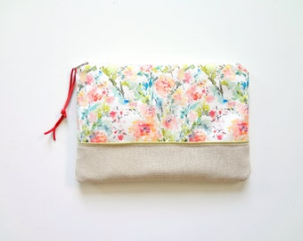 Watercolor Floral Cosmetic Pouch, Floral Make-Up Bag, Watercolor Designer Fabric