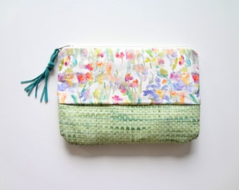Watercolor Floral Cosmetic Pouch, Woven Bottom, 10x7, Designer Watercolor Fabric