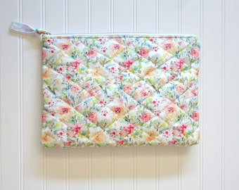 NEW! Quilted Organizer or Portfolio Pouch, Watercolor Floral Portfolio Case, Designer Fabric