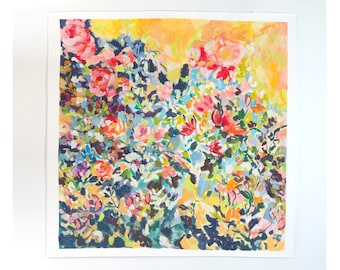 "NEW! Always Near, Original Gouache Painting, 26""x 26"", Large Floral Painting, Floral Art, Gouache"