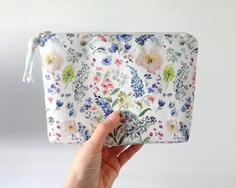 Watercolor Floral Cosmetic Pouch, Floral Make-Up Bag, Watercolor Designer Fabric, Cosmetic Bag