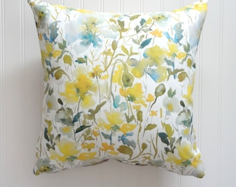 NEW! From the Garden No4, Watercolor Floral Pillow Cover, Designer Fabric Pillow Cover, 18x18, 20x20, 22x22, 24x24, 14x20, 12x21