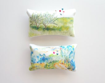 Petite Landscape Pin Cushion, Watercolor Sketch Pin Cushion, Decorative Pin Cushion Series