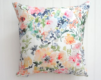 NEW! Bloom Time, Watercolor Floral Pillow Cover, Designer Fabric Pillow Cover, 18x18, 20x20, 22x22, 24x24, 14x20, 12x21, 12x26