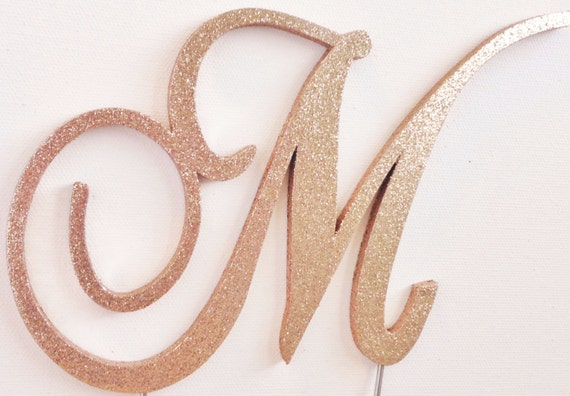 rose gold monogram wedding cake topper gold glitter monogram wedding cake topper wood all 19280