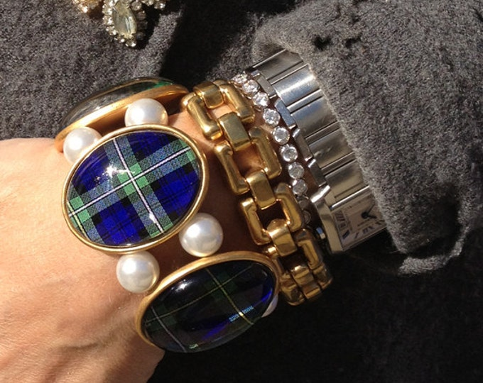 Campbell Tartan in Gold Five-Cameo Stretch Bracelet