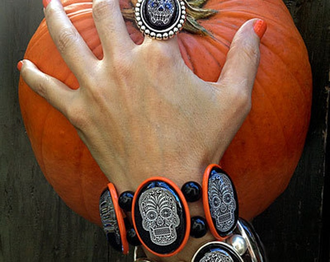 SALE Sugar Skull Stretch Bracelet in Orange From Joolz Hayworth