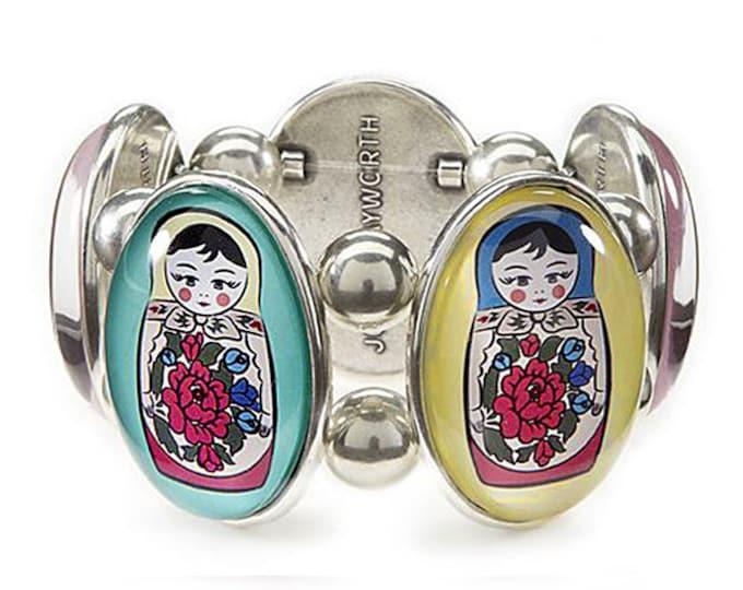 Matroyshka Silver Five-Cameo Stretch Bracelet