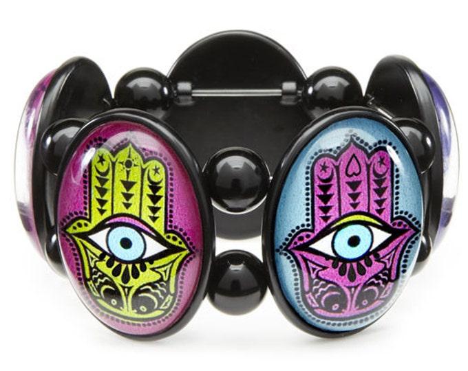 Hamsa Evil Eye Stretch Bracelet from Joolz Hayworth