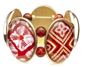 Batik Five-Cameo Stretch Bracelet