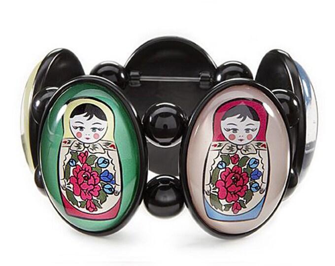 SALE Matroyshka Black Five-Cameo Stretch Bracelet