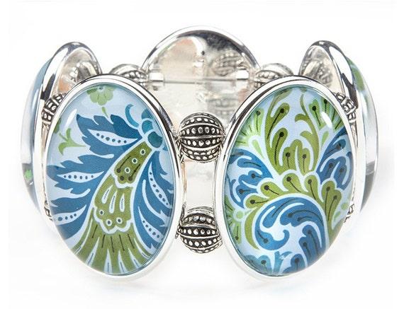 Prima Blue Five-Cameo  Stretch Bracelet