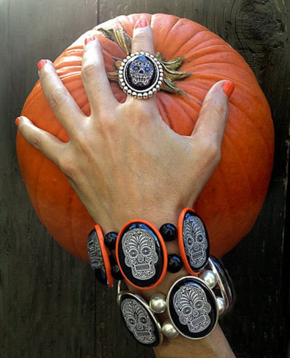 SALE Sugar Skull Bracelet in Orange by Joolz Hayworth