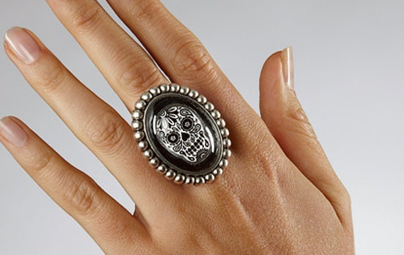 SALE - Sugar Skull Ring
