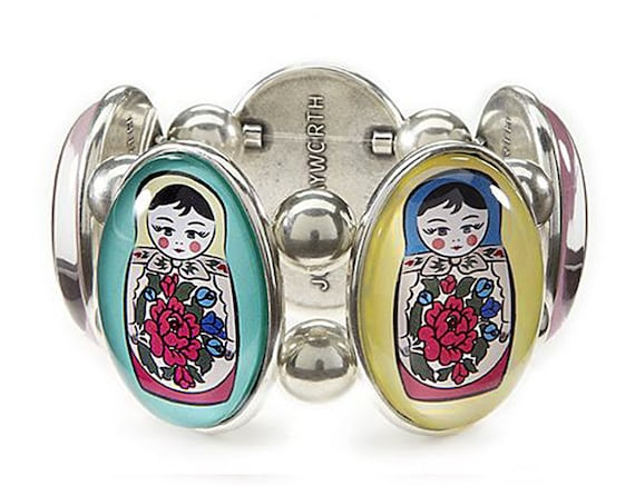 Matroyshka Silver Five-Cameo Stretch Bracelet