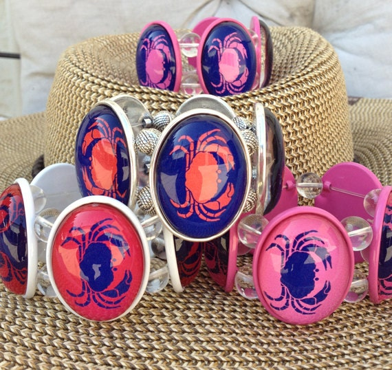 Crab stretch bracelet - choose your color