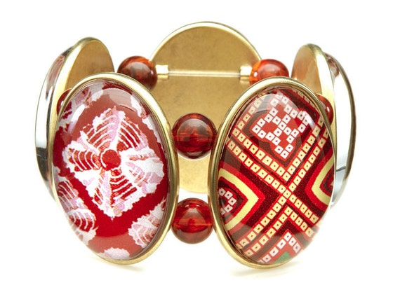 Batik Five-Cameo Stretch Bracelet