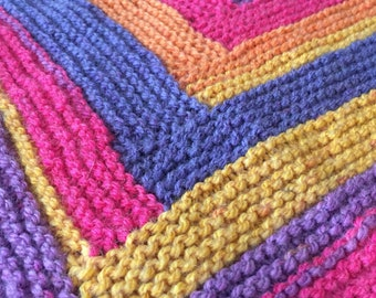 Log Cabin Knitted Baby Blanket in Sunset