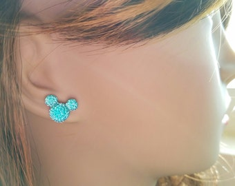 Samantha's Teal Sparkle Mouse Earrings