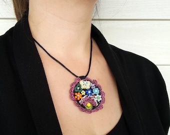 Free Shipping Crochet Circle Necklace, Modern Felt Necklace, Unique Design Necklace, Free Form Necklace, Under 25, Purple