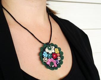 Free Shipping Crochet Circle Necklace, Modern Felt Necklace, Unique Design Necklace, Free Form Necklace, Under 25, Green