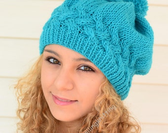 Hand Knitted Hat, Slouchy Hat, Beret, Turquoise Blue Hat, Ribbed, Chunky, Cute Hat, Beanie