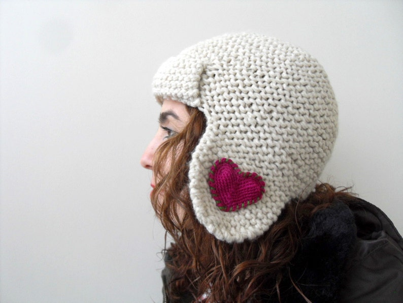 Winter Accessories Heart Knit Hat Valentines Day Gift Pilot image 0