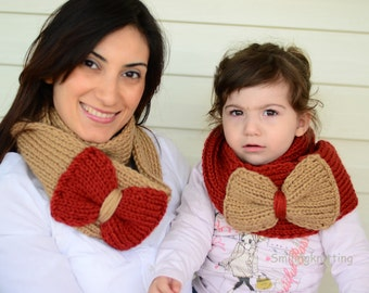 Mother and Daughter  Gift, Infinity Scarf, Mothers Day Gift, Set of 2, Chunky Cowl, Neck Warmer, Beige and Burnt Red