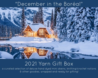 """Yarn Advent Calendar, 2021 PRE-ORDER, Curated Gift Box  for Knitters and Crocheters """"December in the Boréal"""" Mini Skein Set, Holiday Yarn"""