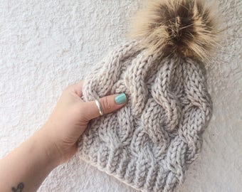 Knit Pom Pom Hat   Knit Kid s Hat   Ski Bunny Knit Hat  Knit Baby Hat   Fur  Pom Pom Hat   Cable Knit Beanie   Toddler Hat   Photo Prop Hat 420e4bd0ca6