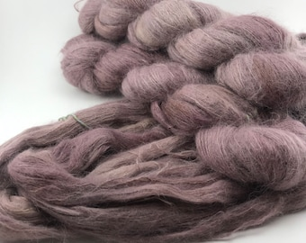 """Canadian Hand Dyed Yarn """"ROSE CLAY"""" Rose Mauve Pink Brown Suri Alpaca Mulberry Silk Lace Weight Knitting Yarn Ready to Ship"""