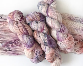 """Canadian Hand Dyed Yarn """"THIRTY SIX"""" Purple Coral Blue Cream Deluxe SW Merino Wool Fingering Sock Knitting Yarn Ready to Ship"""
