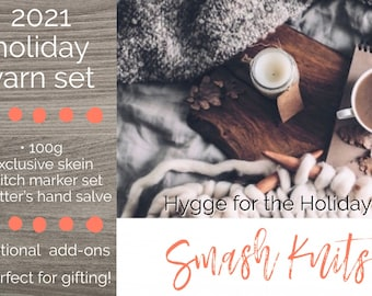 """Yarn Holiday Box 2021 PRE-ORDER, Curated Gift Box, Gift for Knitters and Crocheters """"Hygge for the Holidays"""" Yarn and Notion Set, Holidays"""