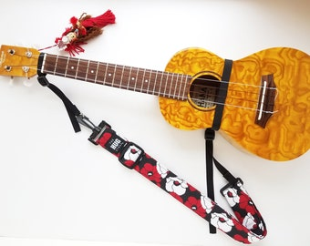 Ukulele Hug Strap with Nylon Cinch, Red and White Poppies