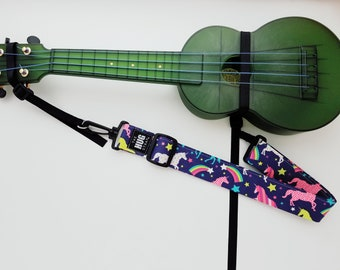 Ukulele Hug Strap with Nylon Cinch, No Need for Strap Buttons, Rainbows and Unicorns